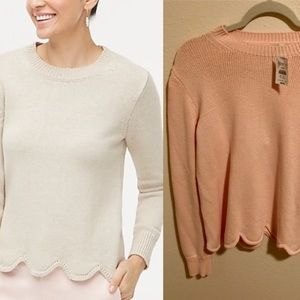 NEW J Crew Factory Scalloped Hem Sweater Pink L